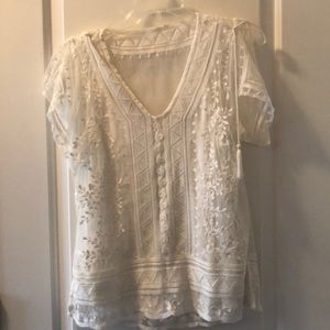 WHBM Beautiful cream lace top with cami NWT S